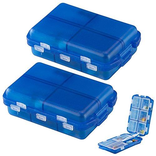 2Pk Medicine Storage 7 Day Pill Box Vitamin Organizer Travel Containers BPA Free