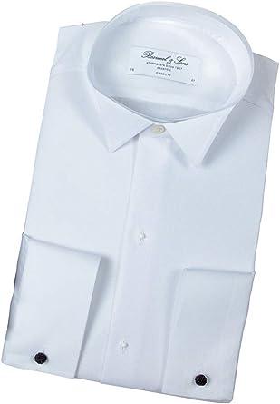 Bosweel Camisa de frack para hombre, color blanco, manga larga, para boda