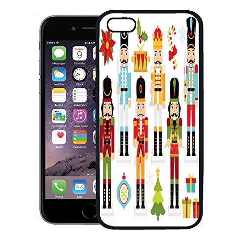 Semtomn Phone Case for iPhone 8 Plus case,Nut Christmas Nutcrackers Cracker Drummer Poinsettia Boy Crown iPhone 7 Plus case Cover,Black