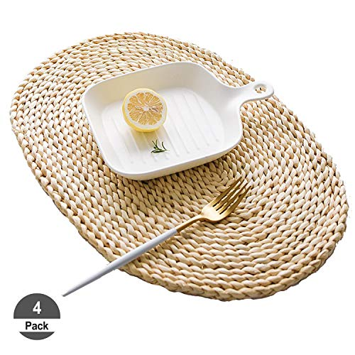 HomeDo 4Pcs Corn Straw Woven Placemats, Round/Oval Rattan Dining Table Mats, Natural Grass Weave Placemats Handmade, Coaster mat (4, Ellipse11.8''x17.7''(30x45cm)) (Oval Rattan)
