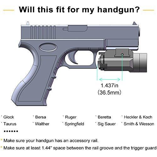 Black Halloween Contact Lenses (USA LASPUR Weapon Rail Mount CREE LED High Lumen Tactical Flashlight Light for Pistol Rifle Handgun Gun, Black)