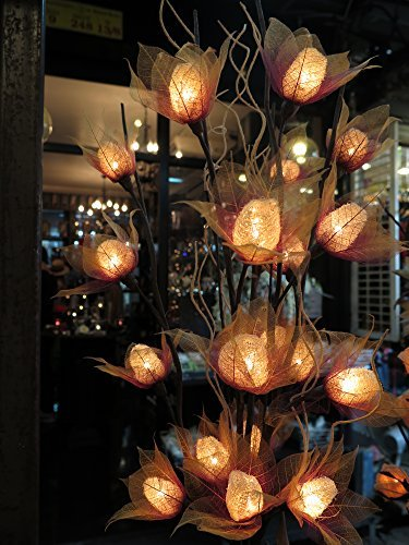 Luffa Artificial Flowers Lamps, Vase/floor/table Lamps, Night Light, Wedding Lighting, Home Decor, Gift, Made Of Luffa Natural Fiber, Paper, Fabric, 20 Light Bulbs, 33 Inch by Thai Natural Goods