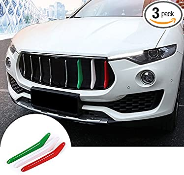 Styling ABS Front Grill Decoration Strips Trim,KIMISS 3pcs Car Glossy Front Grill Grille Decoration Strips Trim for Maserati Levante 2017-2018