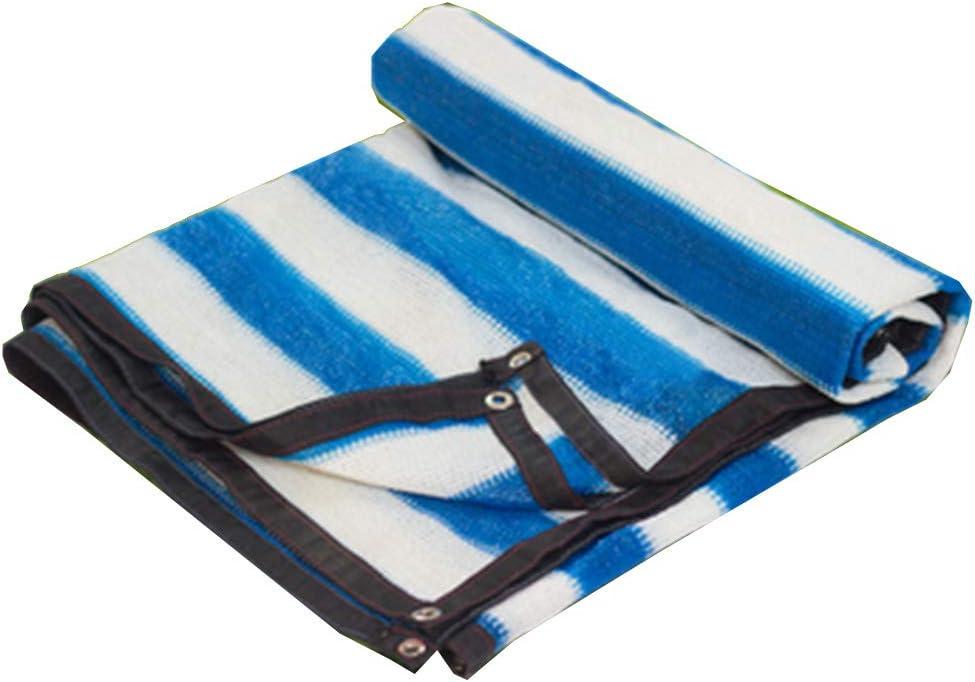 遮光ネット バイザー布 温室シェードネット 日焼け止め 絶縁ネット アウトドア サンネットワーク エッジングパンチ, 24サイズ バルコニー/屋根/中庭,青+白い,6*10m 青+白い 6*10m