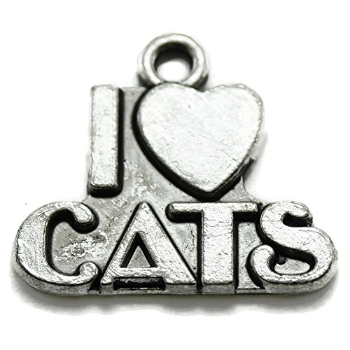 10 Cat Charms silver tone I love cats - I Love My Cat Charm