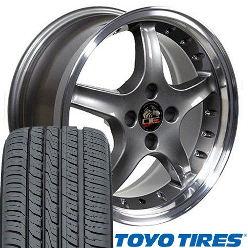 (OE Wheels 17 Inch Fits Ford Mustang 1979-1993 4Lug Cobra R Style FR04A Anthracite with Machined Lip 17x9/17x8 Deep Dish Rims Toyo Proxes 4 Plus Tires SET)