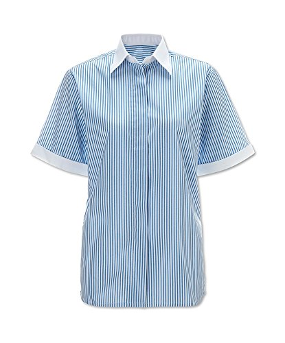 (Alexandra Workwear Womens Easycare Woven Stripe Short Sleeved Shirt Blue/White 20)