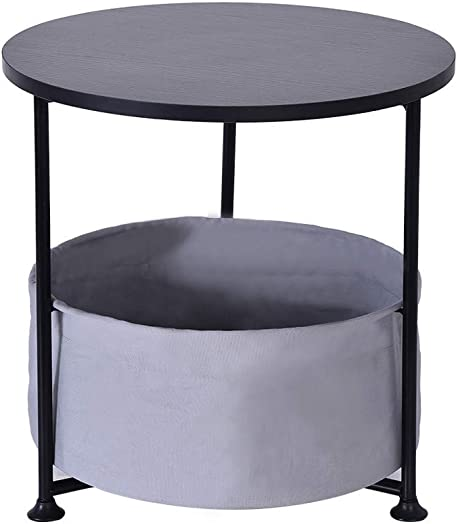 Wood Side Table, Black Double Layer, Round, Storage Table, Coffee Table, Dining Table, with Fabric Storage, S 16.14 16.14 14.57 in