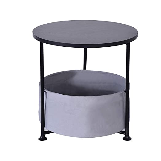 GOTDCO. Round Wood Side Table,2 3 Layer End Table with Fabric Storage Baskets,Morden Leisure Bedside Nightstand Industrial Coffee Desk Small Accent Table for Living Room Bedroom Study Black B