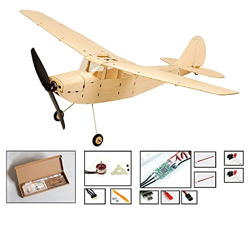 Mini Balsa Wood Airplane Cessna L-19 Model Fly Aircraft, 445mm Wingspan Laser Cut Electric RC Plane Kit to Build for Adults, DIY 4CH Radio Controlled Airplane Toy that Fun Fly (KIT+Motor+ESC+Servo) ()