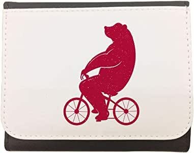 Bear driving a bicycle Printed CaseWallet made of Leather, 12cm X 10cm