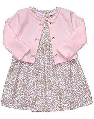 Pink Heart Print 2 Piece Dress Set 6 Months
