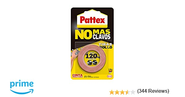 Pattex No más clavos - Rollo de cinta de doble cara, fijación permanente, 1,5m