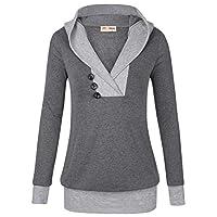 Sudadera con capucha Timeson para mujer, para mujer, manga larga, chal, cuello, panel de punto 2 en 1, con capucha, informal (grande, gris oscuro)
