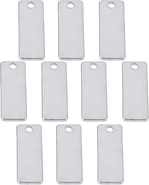 IPOTCH 20pcs Paquete de Placa Etiqueta de Estampado Colgante Plano Rect/ángulo Accesorios para Proyectos de Manualidades 18x32mm