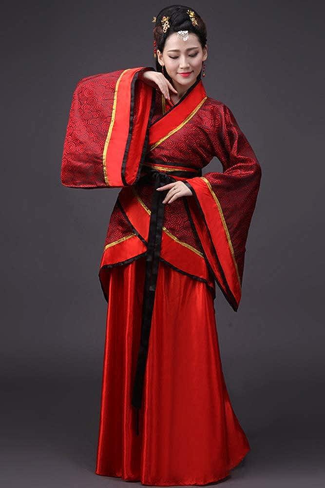 ZEVONDA Mujer Clásico Disfraz de Actuaciones Hanfu Tradicional Traje de Novia Chino Antiguo Traje Tang Nacional Ropa de Cosplay: Amazon.es: Ropa y accesorios