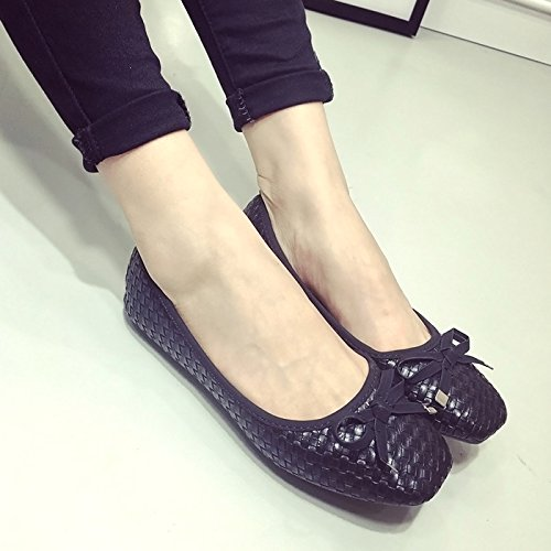 YFF 2017 new black shallow mouth square women a flat with a women single shoes bow tie women's flat shoes,black , 38 casual... B072XJ99WM Parent 001210