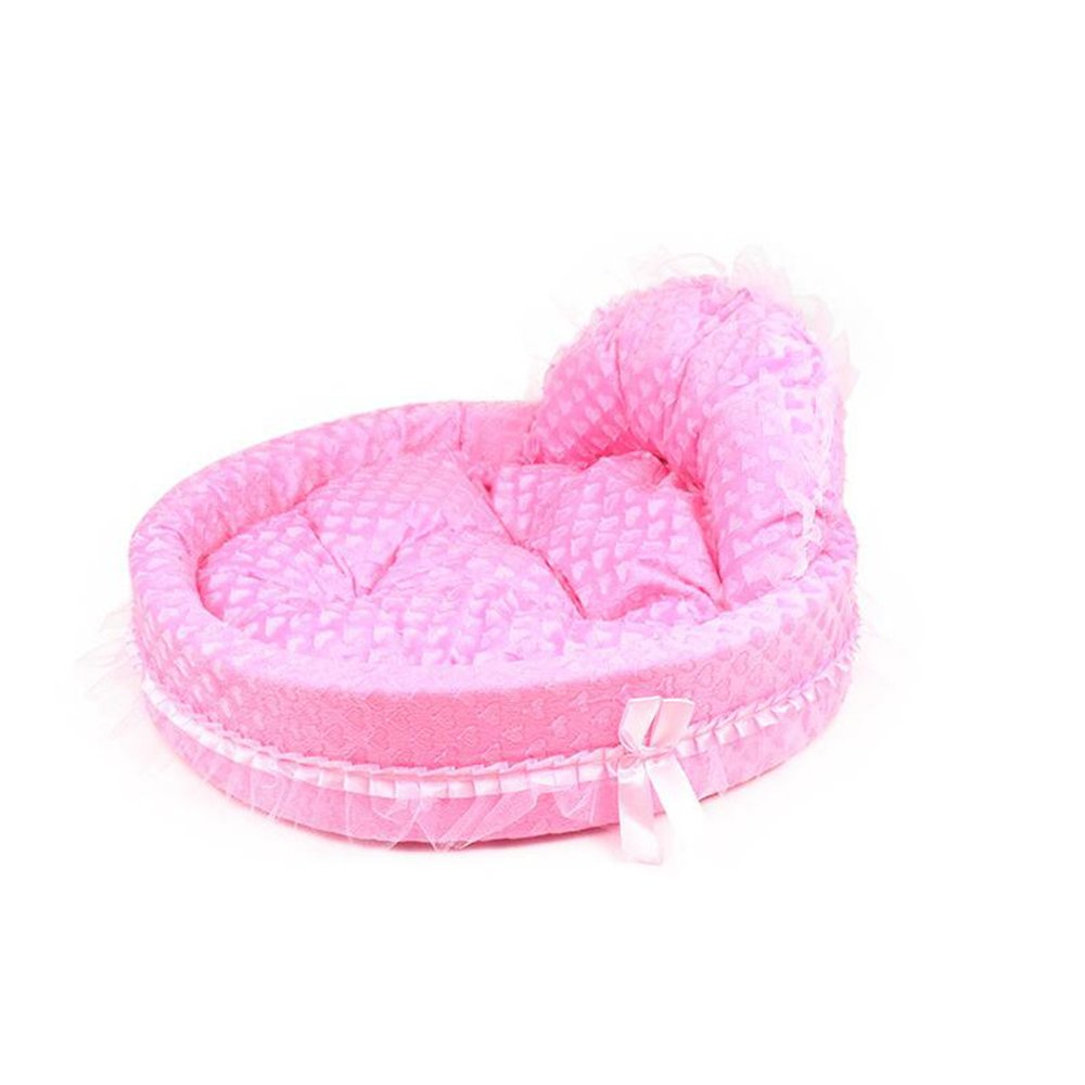 A 4845cm A 4845cm Dixinla Pet Bed Butterfly Knot Lace Round Warm Kennel