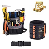 Handyman Tool Belt Set,KINDEN, Small Maintenance workbag /Electrician's Pouch with Poly Web Belt+Magnetic Wristband with Strong Magnets for Holding Screws,Nails, Drill Bits,2 pack kit for Father Day Gift Tool set for him, men, handyman, Husband, Father, Guys, DIY-er