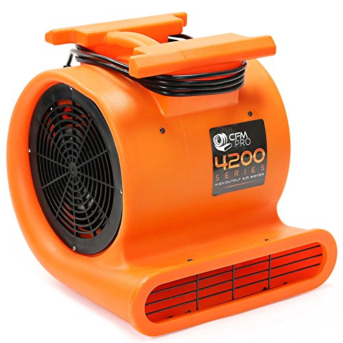 CFM PRO Air Mover Carpet Floor Dryer 3 Speed 1 HP Blower Fan - Stackable - Orange - Industrial Water Flood Damage - Blower Floor