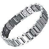 COOLSTEELANDBEYOND Stainless Steel Mens Magnetic Link Bracelet 8.5 Inches with Free Link Removal Kit Jewelry for Men