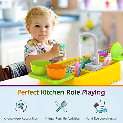 KinderUP Kitchen Sink Toy for Kids, Toddler, Learning Dishwasher Set with Automatic Water Cycle System, Pretend Role Play Toys for Boys & Girls