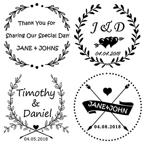 Custom Rubber Self Inking Stamp-Personalized Wedding Stamp,Use in Wedding Invitations, Save The Dates, RSVP Cards (Heart Arrow)