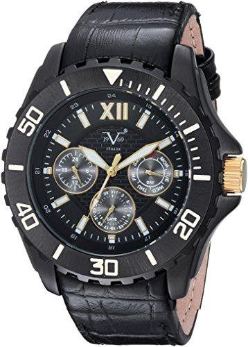 V19.69 Italia Men's Quartz Metal and Leather Casual Watch, Color:Black (Model: 37VM102101A)