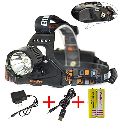 Welltop® 1200 Lumens CREE XM-L Upgraded L2 LED 5-Modes Headlamp Torch With 2Pcs 18650 5000 mah Rechargeable Battery+AC Charger+USB Cable (Black head)