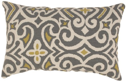 Pillow Perfect Grey /Greenish-Yellow Damask Rectangular Thro