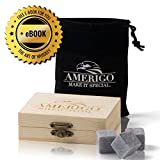 Image of Amerigo Premium Whiskey Stones Gift Set by Water Down Your Whiskey? Never Again! Set of 9 Whiskey Rocks - Chilling Stones Packaged in an Exclusive Wooden Gift Set - Drinking Stones + Free Ebook