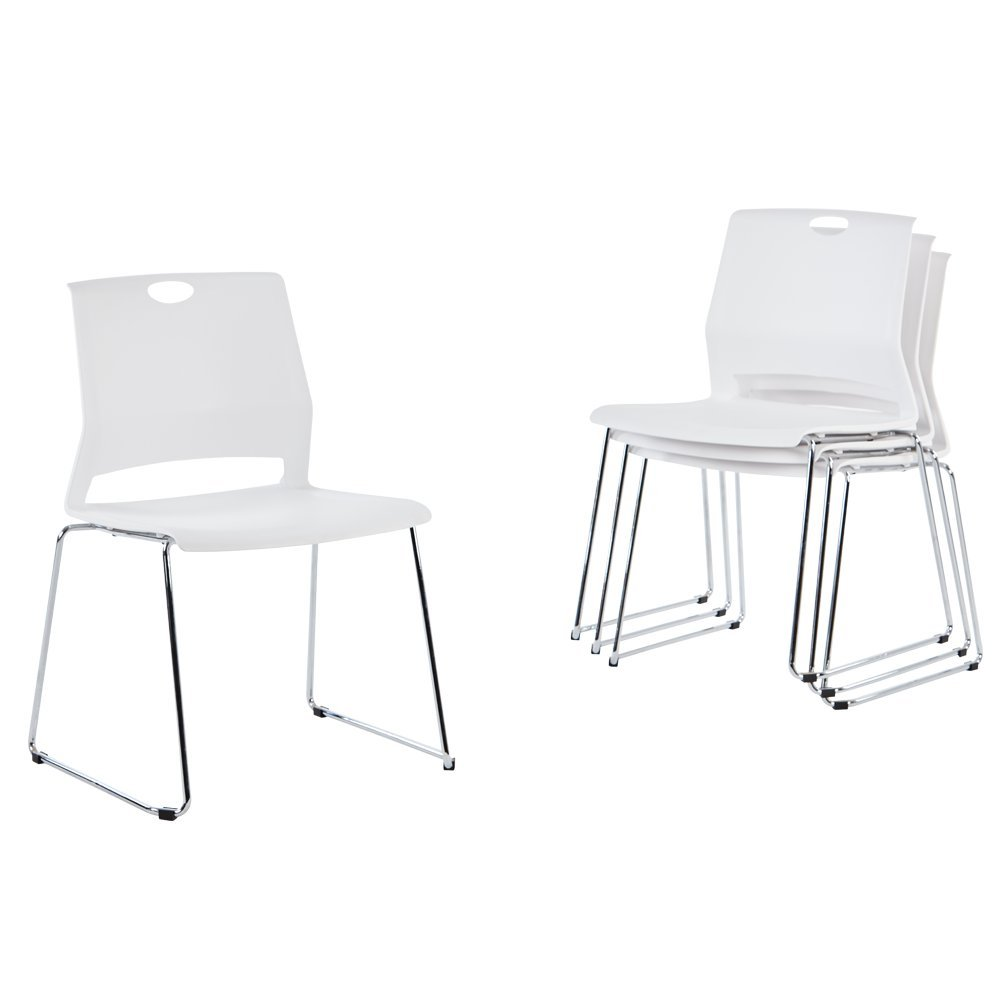 Sidanli White Plastic Stackable Chairs-(Set of 4)