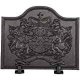 Black Cast Iron Lion Fireback - 18 x 22 inch
