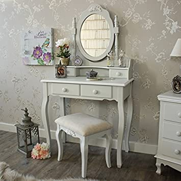 Beau Melody Maison Grey Dressing Table, Mirror Stool   Claudette Range