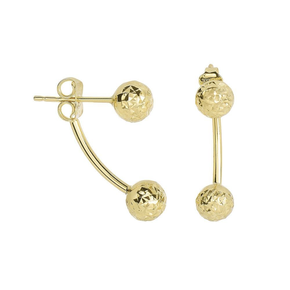 14k Yellow Gold 19.4x5.9mm Shiny Sparkle-Cut Belly Ring Style Post Earrings With Push Back Clasp