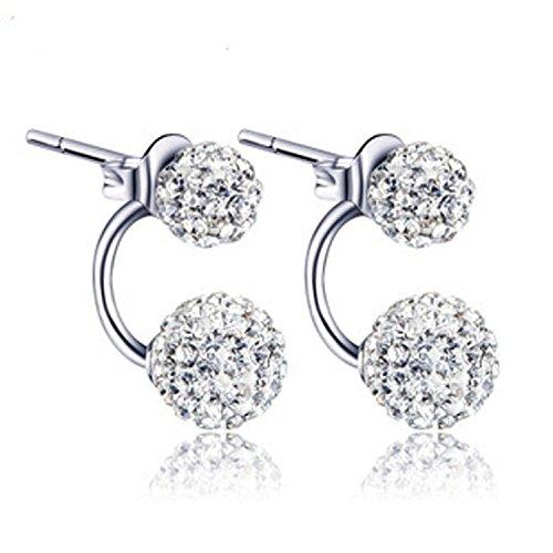 findout dames en argent sterling à double diamants pleine deux sortes de façons de porter earrings.for femmes filles (f1516)