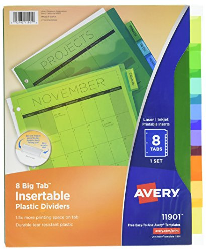 Free shipping avery big tab insertable plastic dividers for Avery big tab inserts for dividers 8 tab template