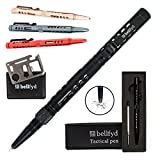 BellFyd Tactical EDC Metal Pen with Glass Breaker - Personal Protection Multitool Pack - New Gifts For Outdoors Travelers Guys - Rugged Survival Pens Black For Men - Multi Tool Set with Ball Point Pen
