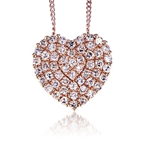 Heart Diamond Pendant necklace Round Diamonds 0.20 carat,14k rose gold