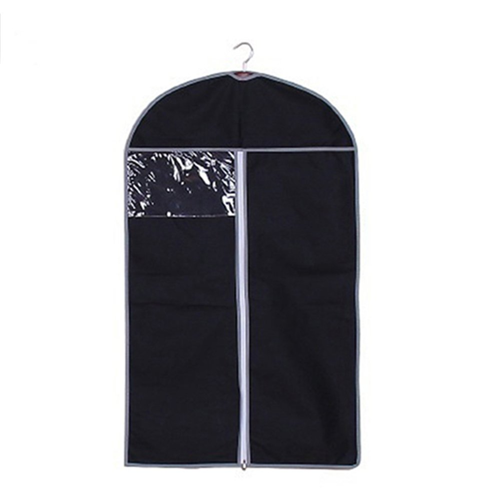 Durable Clothes Dust Cover Garment Storage Bag Clothing Dustproof Zipper Protector Bag Space Saver Bag size 60cm by 80cm (Black)