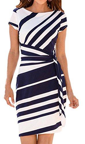 Long Dress Sleeve Short Fit Vogue Navy Blue Crewneck Striped Women Print Cromoncent xg8nzfqZ4x