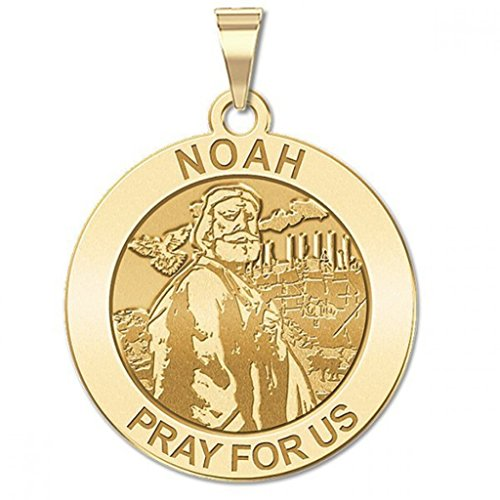Noah Round Religious Medal Available in Solid 14K Yellow or White Gold, or Sterling Silver