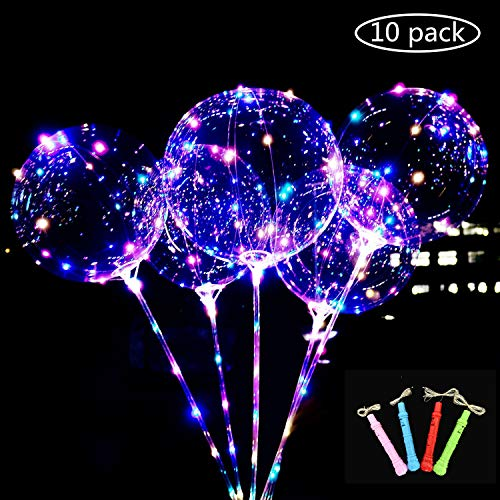 Balloons With Lights (LED Light Up BoBo Balloons Colorful 10 Packs,3 Levels Flashing Handle,20 Inches Bubble Balloon,70cm Stick,Christmas Birthday Party)