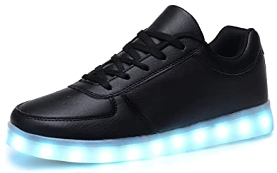 7d0d691ac09f Odema Women Lowtop USB Charging LED Shoes Flashing Lace Up Fashion Sneakers  Black