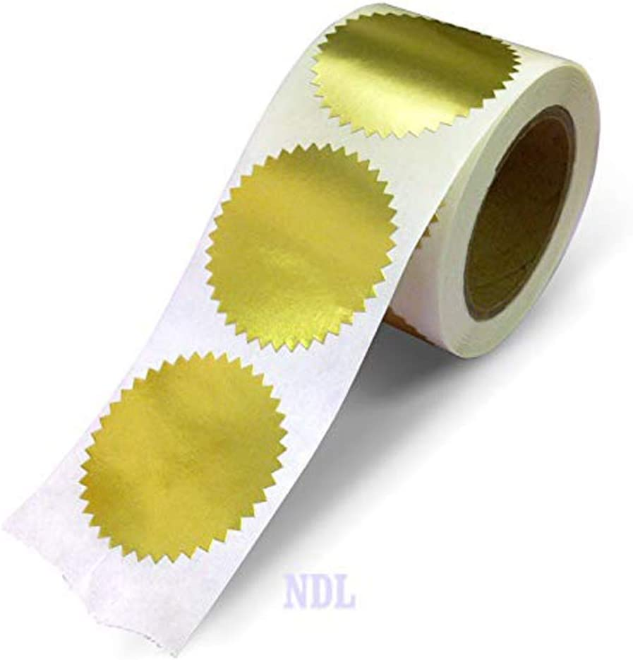 """Next Day Labels 2"""" Round, Gold Metallic Package, Envelope, Certificate Wafer Seals with Serrated Edge. 250 Stickers Per Roll"""