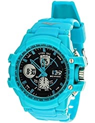 Everlast Sport Mens Analog Digital Round Watch with Turquoise Rubber Strap