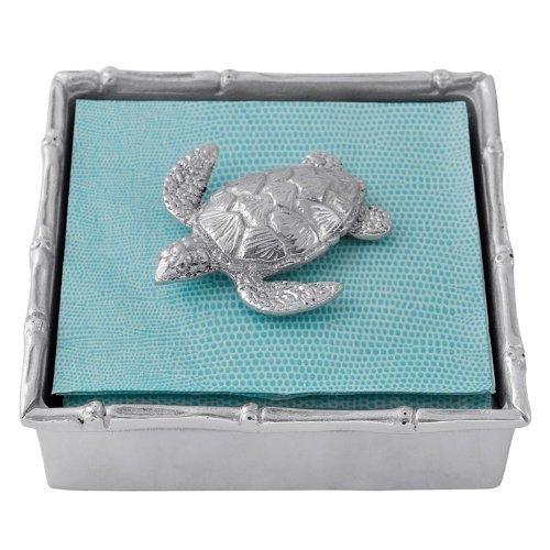 Mariposa Bamboo Napkin Box with Sea Turtle Weight
