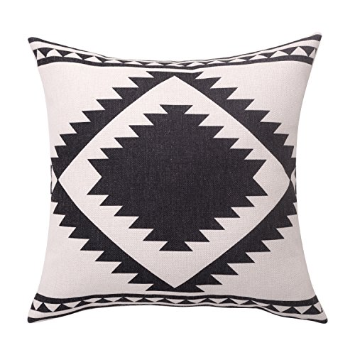 (BreezyLife Aztec Throw Pillow Covers Black and white Decorative Pillow Cases Linen Square Cushion Covers for Sofa Couch Farmhouse Outdoor 20x20 Inches)