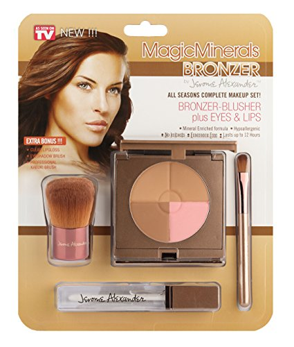 MagicMinerals Bronzer by Jerome Alexander - Ultra-Natural Bronzer-Blush Compact Plus Clear Lipgloss and Eyeshadow Brush - Perfect Makeup for Bronzing, Contouring or Sculpting