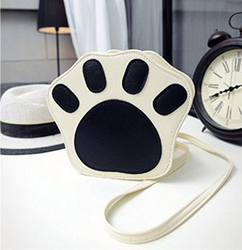 Mini Cartoon Cat's Cute Shoulder Print Paw Fashion Shape Paw Bag Cross Leather Beige body Bag PU Bag qEzPwPA5d